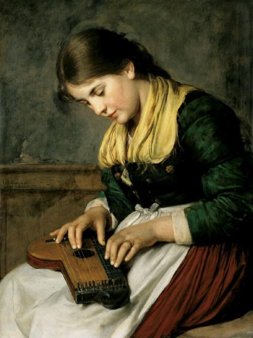 Franz Defregger - Zither-playing Girl, 1894