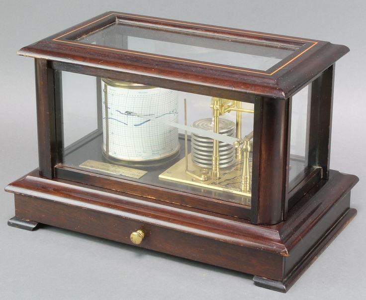 """Lot 907, Russell of London, a 1982 limited edition  barograph no.62/1000, contained in a mahogany case the base fitted a drawer, raised on bracket feet, complete with certificate 9 1/2""""h x 14 1/2"""" x 9""""d est £80-120"""