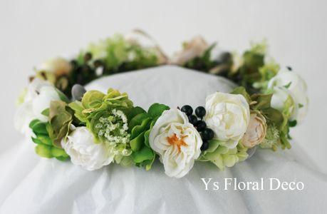 hk00298 白グリーンの幅広な花冠 ys floral deco @ハワイ