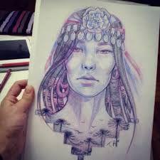 Resultado de imagen para dibujo mujer mapuche