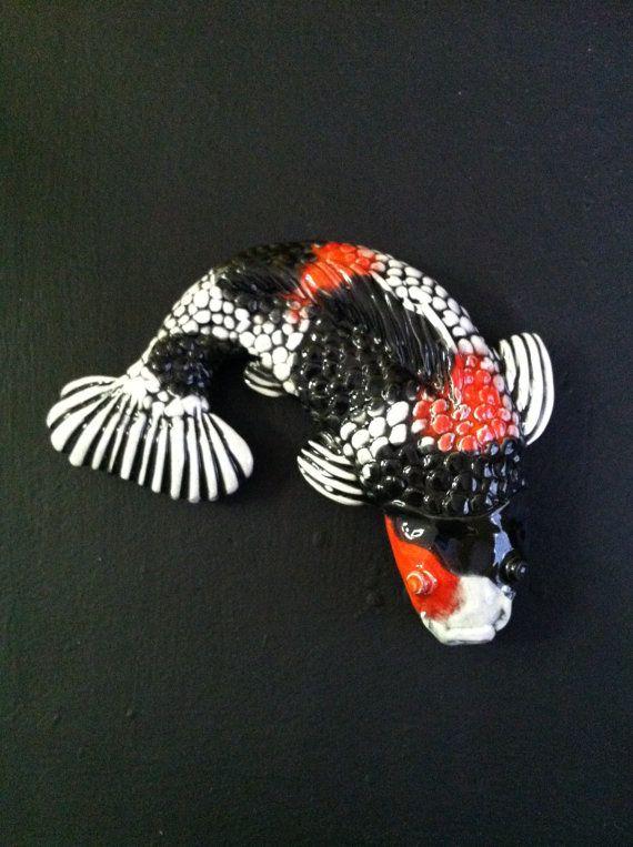 Handmade black and white koi with red head decorative art for Koi fish head