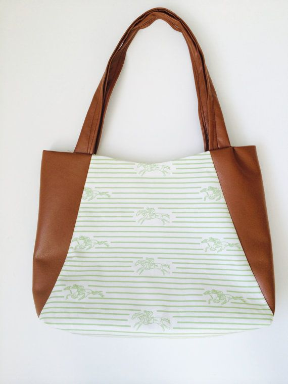 Vegan leather derby tote by PalmRowPrints on Etsy  /equestrian/preppy