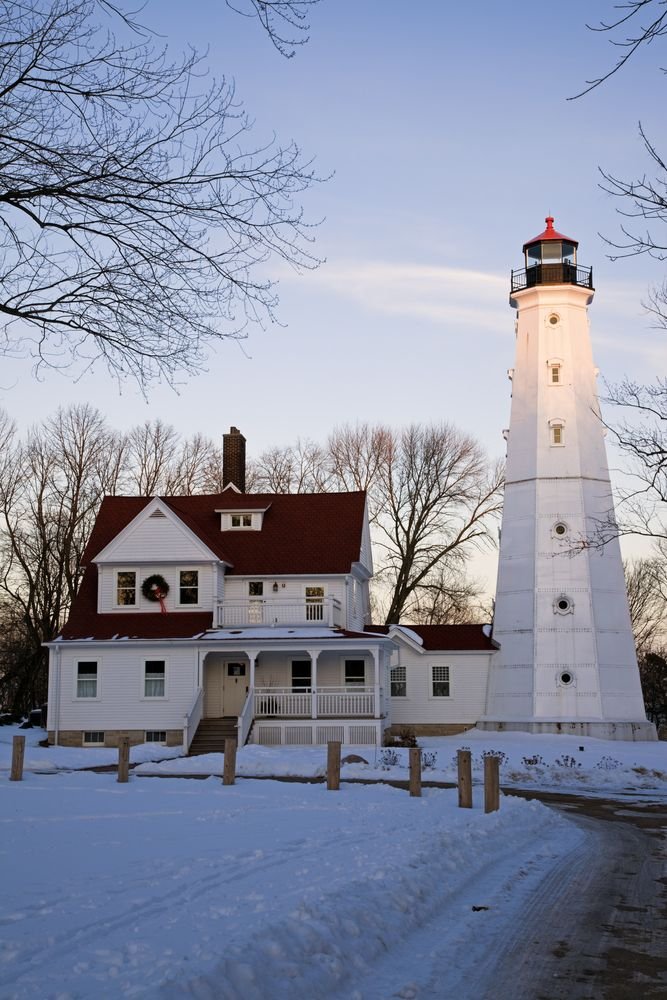 Great Lakes Lighthouses: Winter at the North Point Lighthouse Milwaukee, Wisconsin