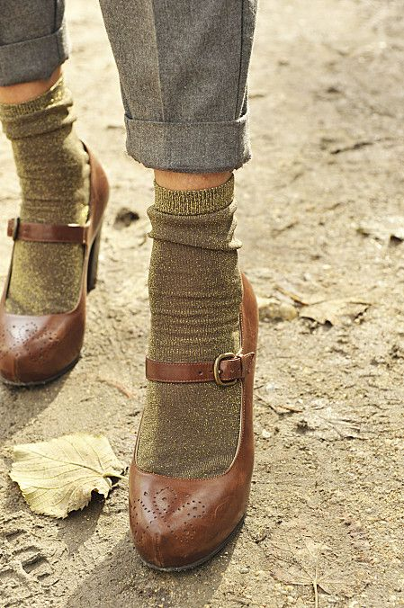 Lightweight socks with healed mary jane style toffee tone shoes (better with longer trousers or a tweedy skirt.)