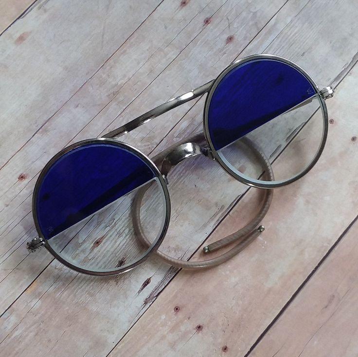 Likenew vintage split lens cobalt blue glasses unused