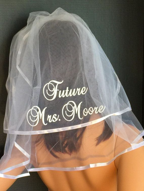 Personalized Veil Monogrammed Veil Bridal Shower Veil by VALSVEILS