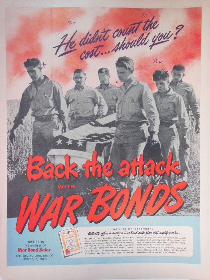 original vintage WWII advertising 1940s war bonds ad US army WW2 poster print