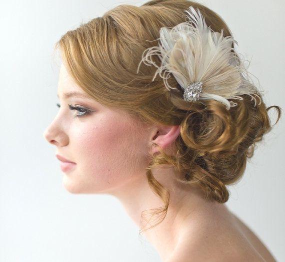 Wedding Fascinator Bridal Head Piece Feather Fascinator Wedding Hair Accessory | Wedding ...
