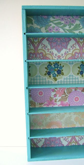 silly old suitcase: DIY-Tutorial; make-over...wine box make-over with vintage wallpaper