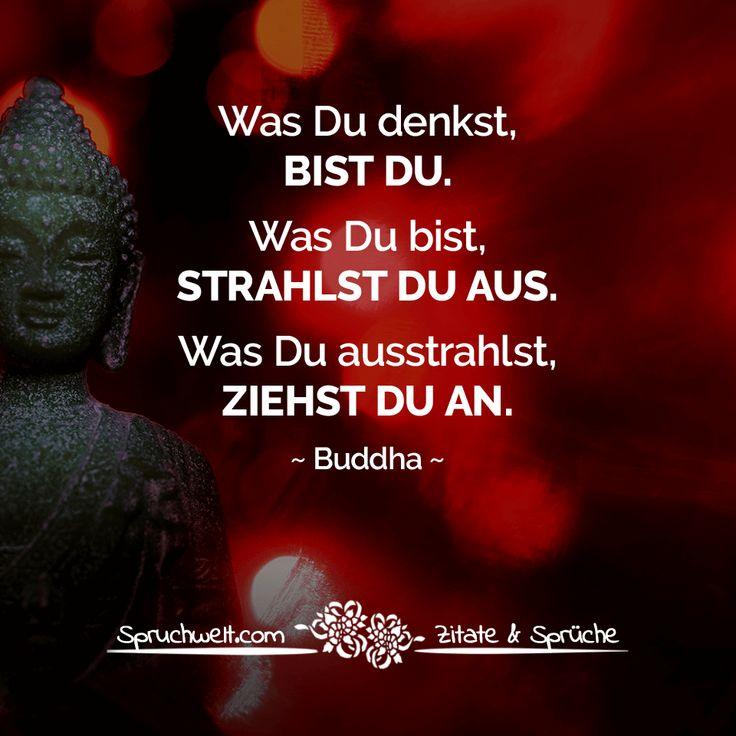 Was Du denkst, bist Du. Was Du bist, strahlst Du aus. Was Du ausstrahlst, ziehst Du an. - Buddha Weisheit #zitate #sprüche #deutsch#spruchbilder #weisheiten #motivation