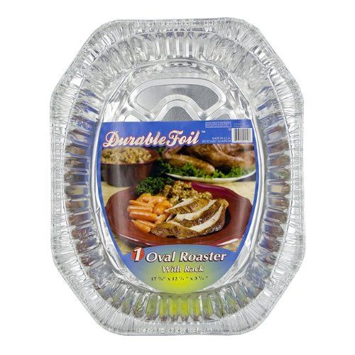 Durable Foil D40010 17' Aluminum Oval Roaster With Rack >>> Review more details here : Roasting Pans