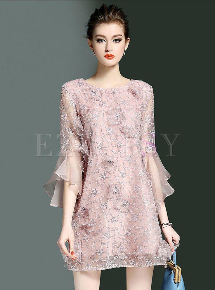 Sweet Falbala Sleeve Mini Shift Dress (com imagens) | Vestidos ...