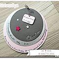 Le joli faire-part rond gris et rose de Charlie sur le thème des étoiles - Jolies créations, le blog des Faits à Façon