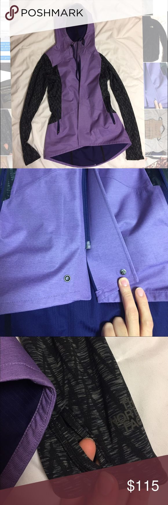 North Face Rain Jacket North Face; Size XS. Purple and gray rain coat. There's a hidden zipper, tie on the hood, a button clasp and thumb holes at the arms. The back of the coat features a little high-low shape as it covers the backside a few more inches than the front. I wore this once, and it just wasn't my style. It's brand new and in amazing condition. Open to trades and offers! North Face Jackets & Coats