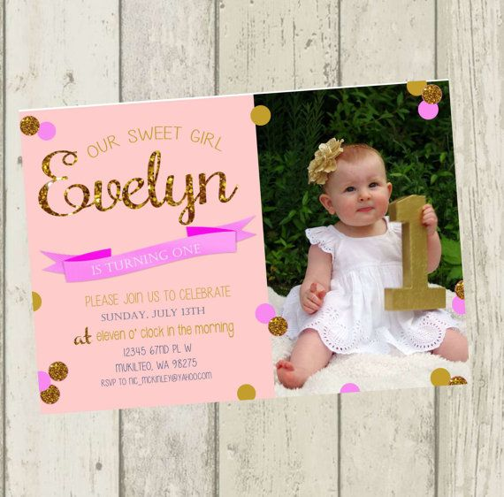 Pink Gold Birthday Party Invitations Great For A Princess Or First Can Even Be Reworded And Gol