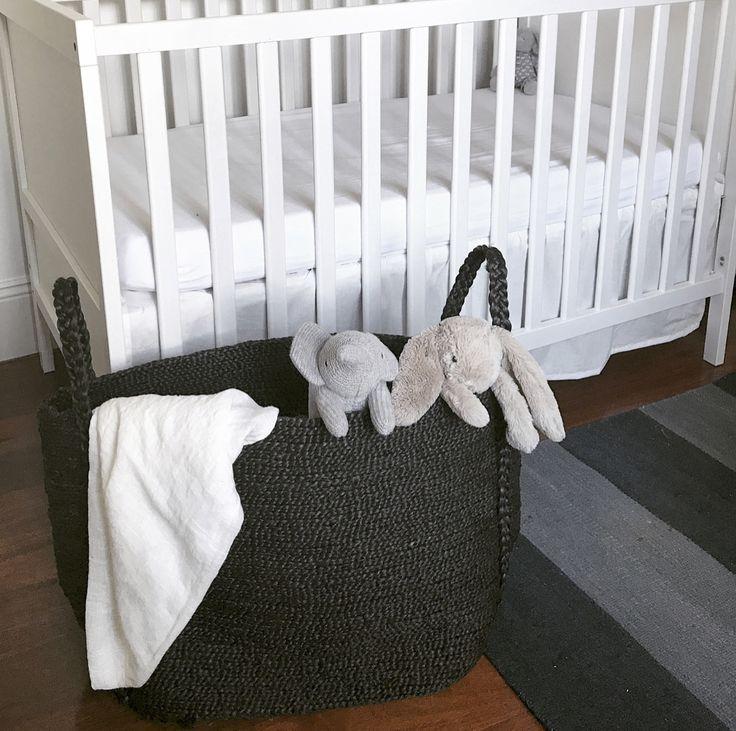 Maya Large Wide Jute Basket Onyx available at jjute.com.au  https://jjute.com.au/products/noosa-large-wide-basket-black