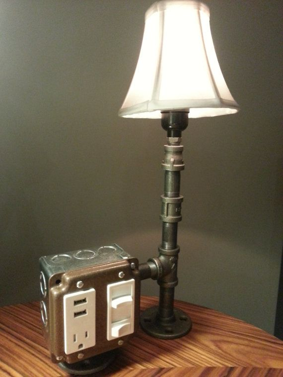 the hammered boss desk or table lamp with usb charging station. Black Bedroom Furniture Sets. Home Design Ideas