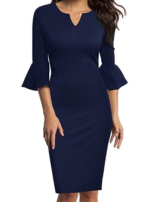 5c07af616 WOOSUNZE Womens Flounce Bell Sleeve Office Work Casual Pencil Dress (Navy  Blue