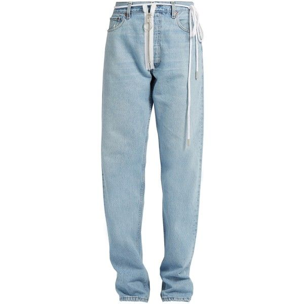 Off-White X Levi's boyfriend jeans ($341) ❤ liked on Polyvore featuring jeans, denim, pants, loose boyfriend jeans, off white jeans, high rise denim jeans, long jeans and high waisted denim jeans