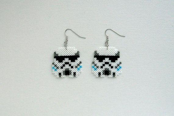 Star Wars Stormtrooper earrings hama mini beads by Alsterbead