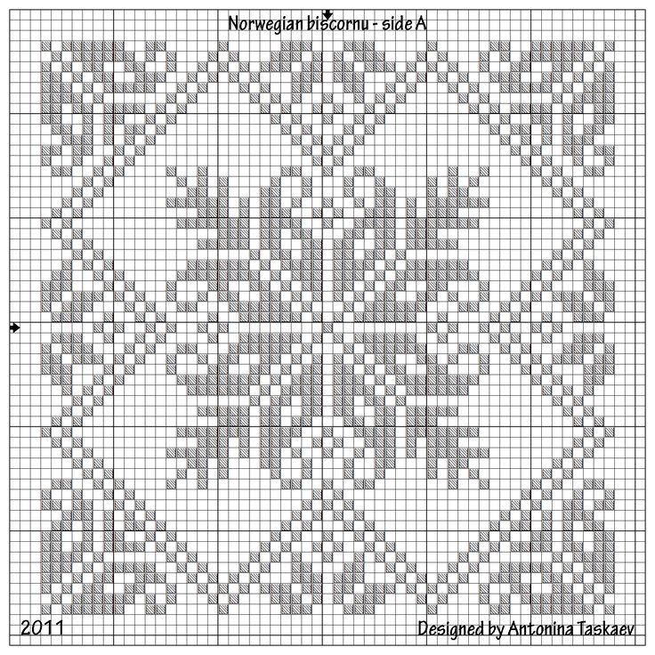 Norwegian biscornu from Antonina (lovebiser). [You could adapt this chart to Hardanger if you convert the floral motifs to satin stitch and even do a pulled four-sided stitch for the diagonals --- (NCS)]
