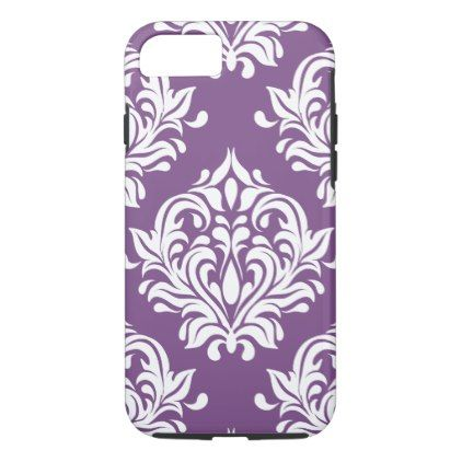 Elegant Purple Floral Damask Pattern iPhone 8/7 Case - patterns pattern special unique design gift idea diy