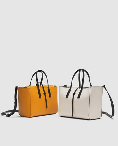 36fe6844399 MINI TOTE BAG WITH CONTRASTING HANDLES-BAGS-WOMAN | ZARA Canada ...