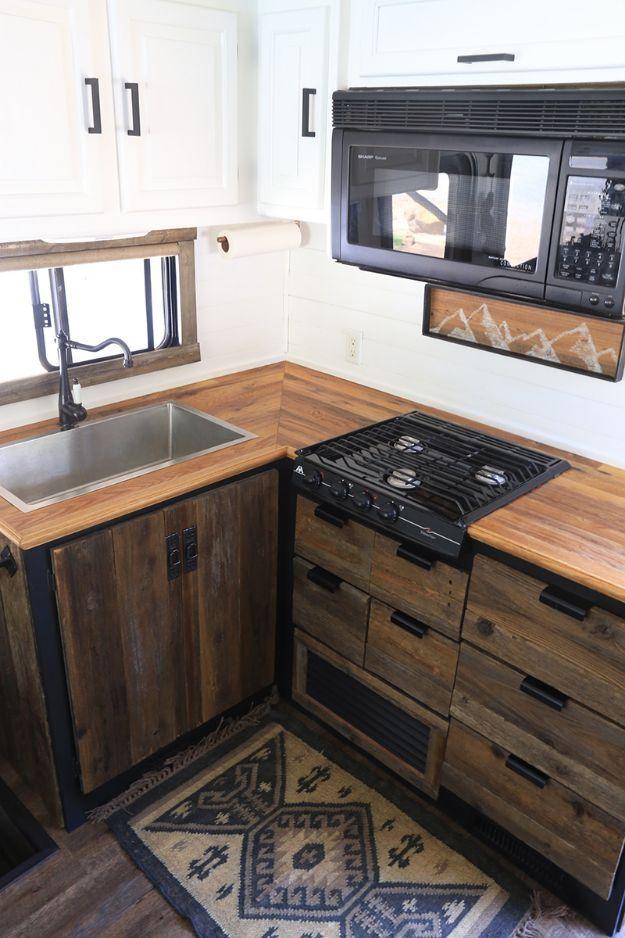 Diy Kitchen Cabinets Rustic Modern Rv Kitchen Cabinet Makeover