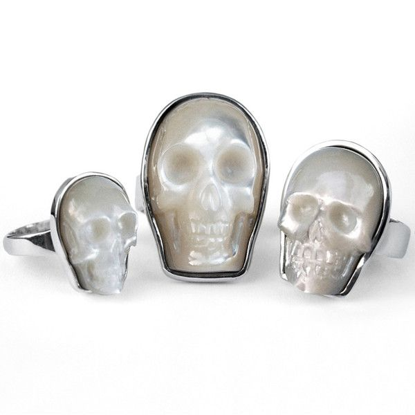 Mother of pearl skull rings by Nick Von K