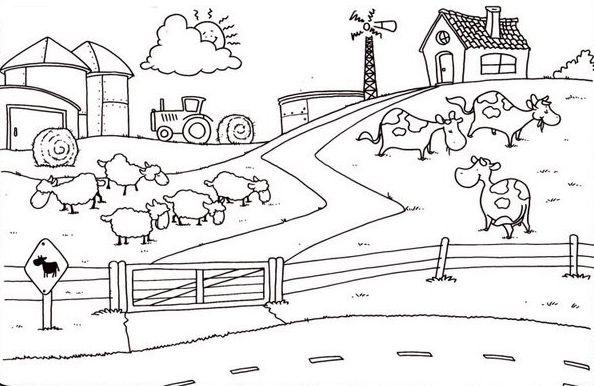 Animales De La Granja Para Colorear Escuela En La Nube Paisaje Para Colorear Dibujos De Campos Dibujos Para Pintar Paisajes