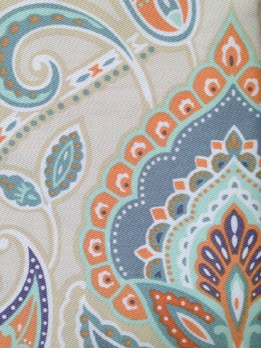 Cynthia Rowley Ischia Paisley Fabric Shower Curtain In Shades Of Burnt Orange Seafoam Green