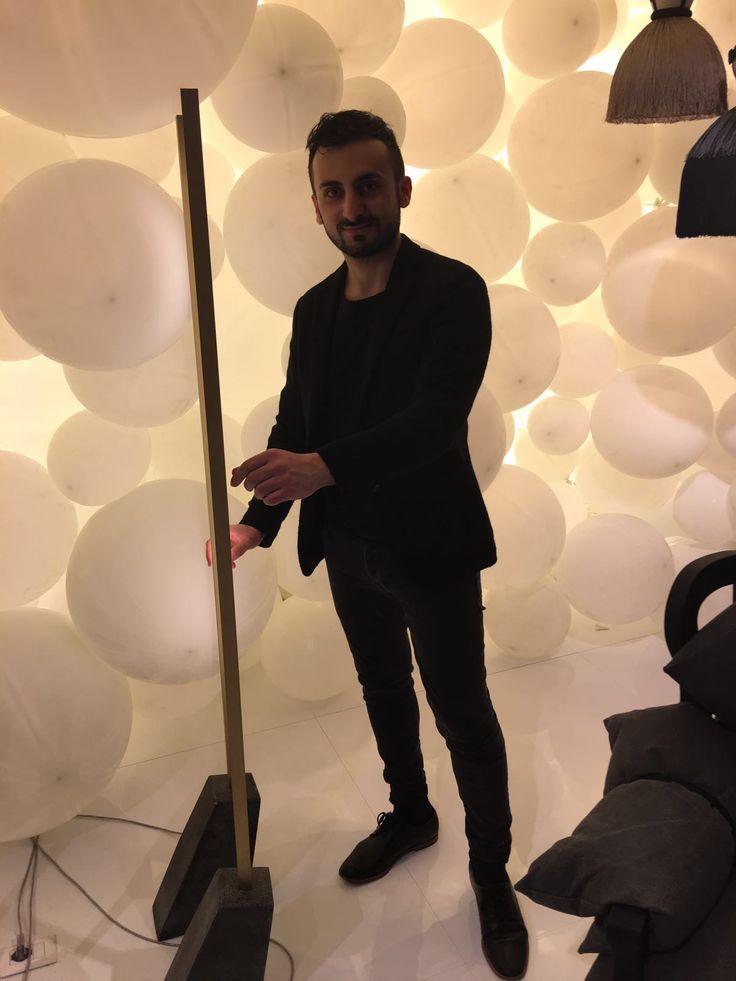 MOGG at Pad. 10 Stand B 07 with #NoroKhachatryan and his #lamp #Vil #SaloneDelMobile #salone2016 #interiordesign #InteriorDesigner #MWD #MilanWeekDesign