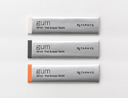 Metaphys gum eraser: an eraser in the shape of a stick of gum. The stationery/art supply nerd in me wants it.