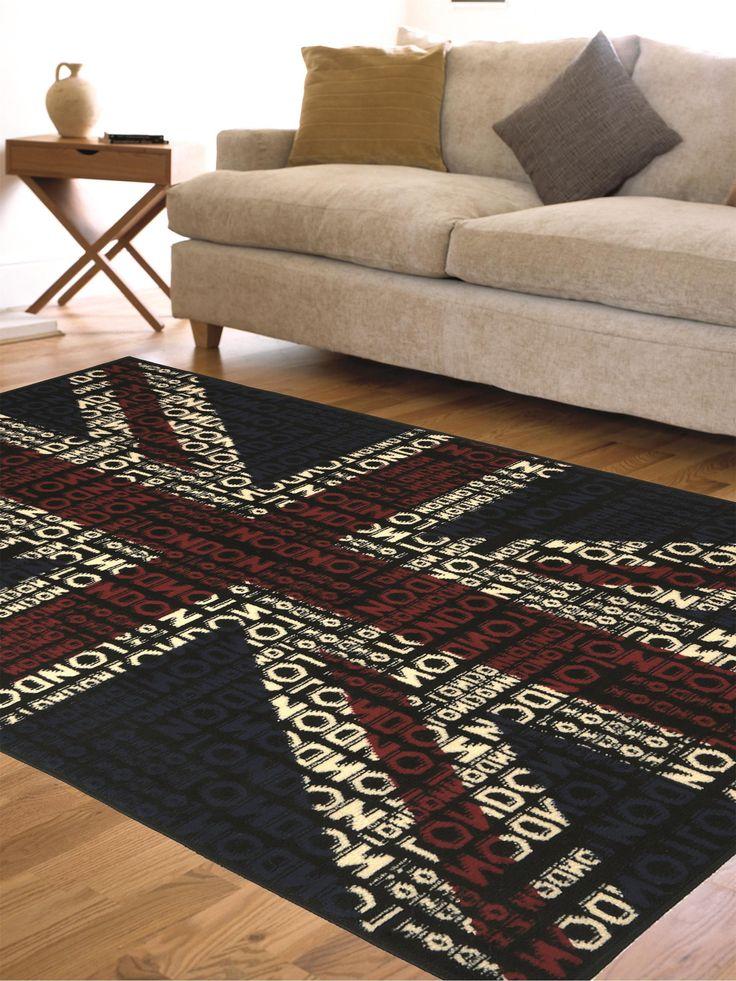 """Mit der Kollektion British von benuta kann man den klassischen Union Jack auf neue Art kennenlernen. Bei diesem Exemplar setzt sich die britische Flagge aus unterschiedlich großen """"London""""-Schriftzügen zusammen, was insgesamt ein interessantes Erscheinungsbild ergibt. Der Teppich besteht vollständig aus Polypropylen.( Teppich Swing ) #benuta #teppich #interior #rug #popart"""