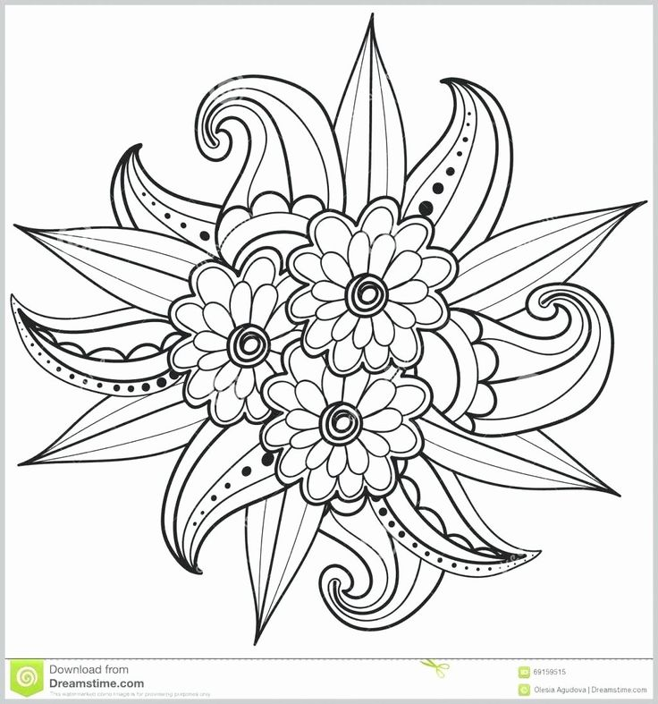 Coloring Pages Flowers Easy Beautiful Simple Adult