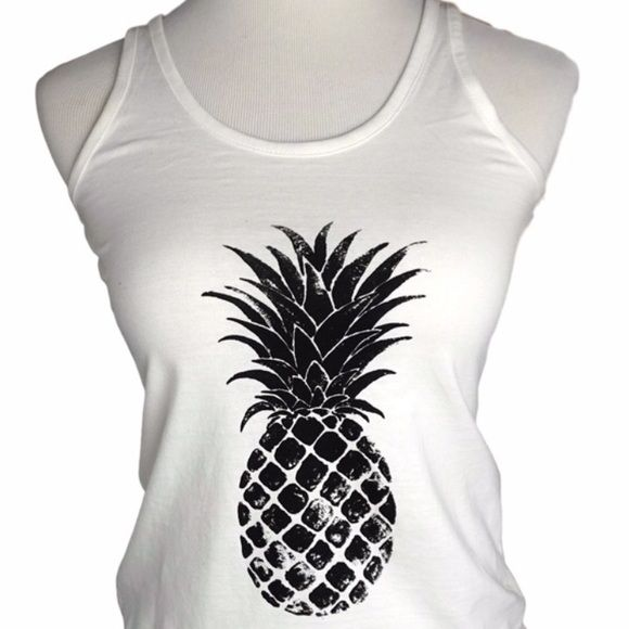 Pineapple Print Tank  Pineapple Print Tank is bnwt retail - is the perfect summer tank. This size exclusive to my closetso super cute. Black and white goes w everything & especially the Ketzali wraps in my closet. Viva la vacationabsolutely no returns. 100% cotton April Spirit Tops