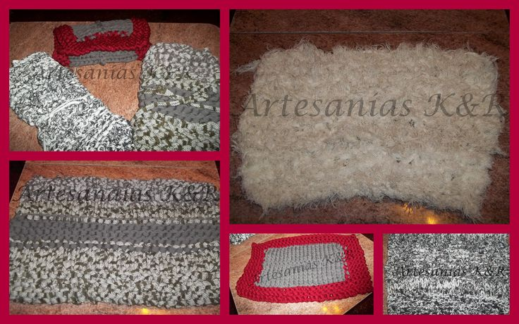 variedad de alfombras de totora tejidas con 2 agujas, lisas, combinadas, y peludas