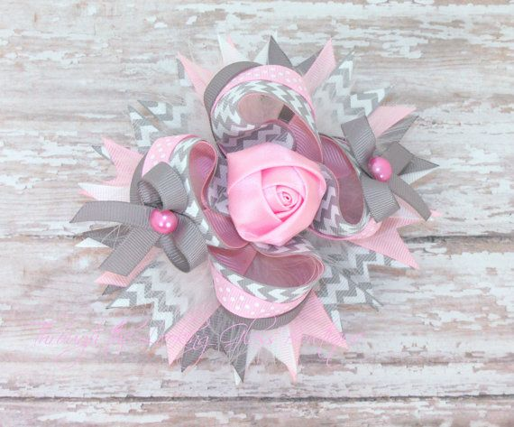 Over the Top Hair Bow, Girls Bows, Stacked Hair Bow  Light Pink and Grey, Stacked Boutique Bow