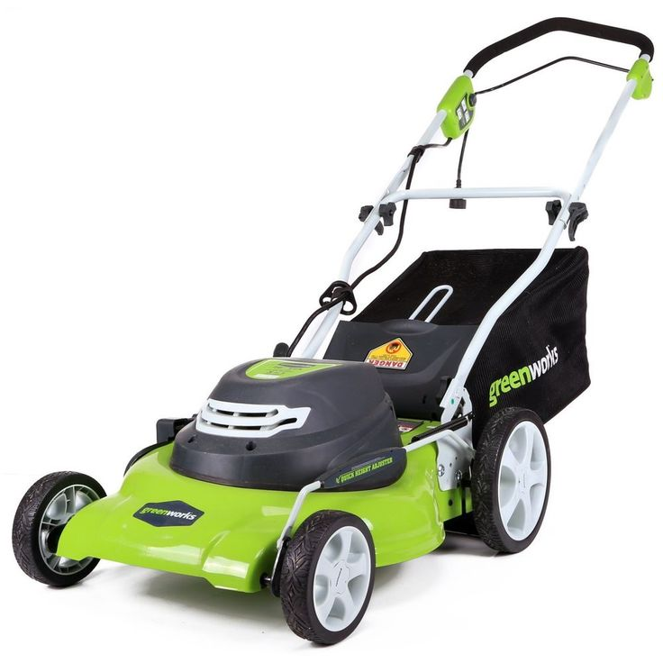 Electric Lawn Mower with Grass Bag adjustable 7-position height Steel Blade New #Greenworks