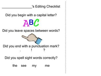 Kindergarten Editing Checklist for WritingKindergarten Fun, Grade Writing, Checklist Helpful, Kindergarten Student, Kindergarten Editing, Editing Checklist, Student Checklist, Kinder Writing, Kindergarten Writing