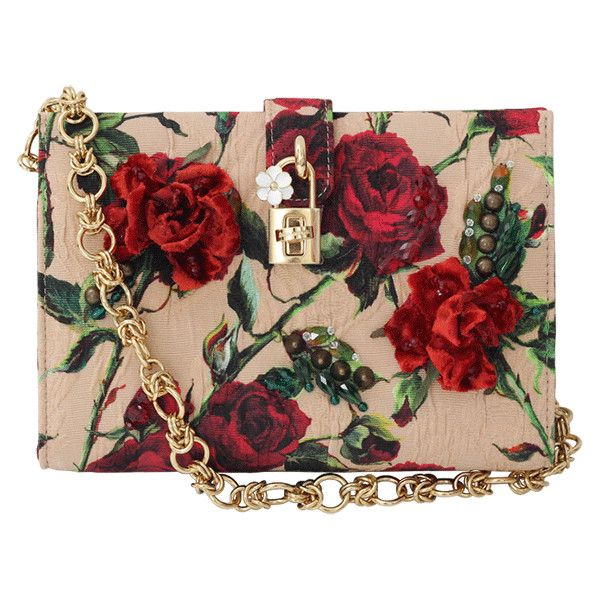 Dolce & Gabbana  Small Rose Print Canvas Bag (8,795 AED) ❤ liked on Polyvore featuring bags, handbags, shoulder bags, purses, accessories, bolsas, red purse, floral purse, beaded purse and red handbags