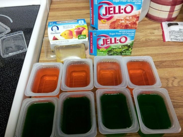 Save money on premade jello by recycling empty plastic baby food containers just be sure to keep both the container and lid ...wash and enjoy saving :-D