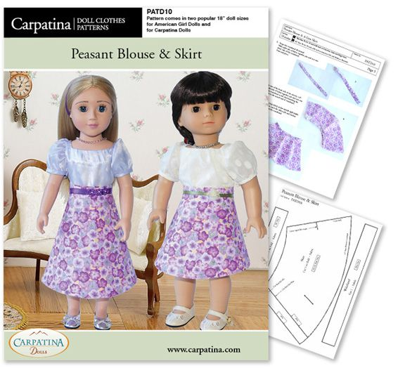 PATD10 American Girl Doll Peasant Blouse & Skirt Pattern by Carpatina