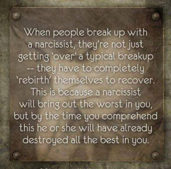 narcissistic relationship and break up