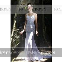 Elegant Backless Long White Prom Dresses | Fanny Crown