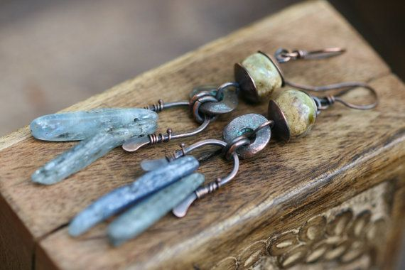 Rustic Primitive Blue Kyanite artisan wrapped hammered, primitive earrings b.1- copper metal work, oxidized, wild, natural stone, elongate