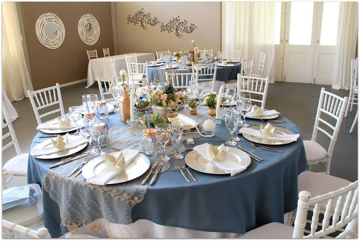 Rose gold & vintage blue wedding decor - Done by Oak House.