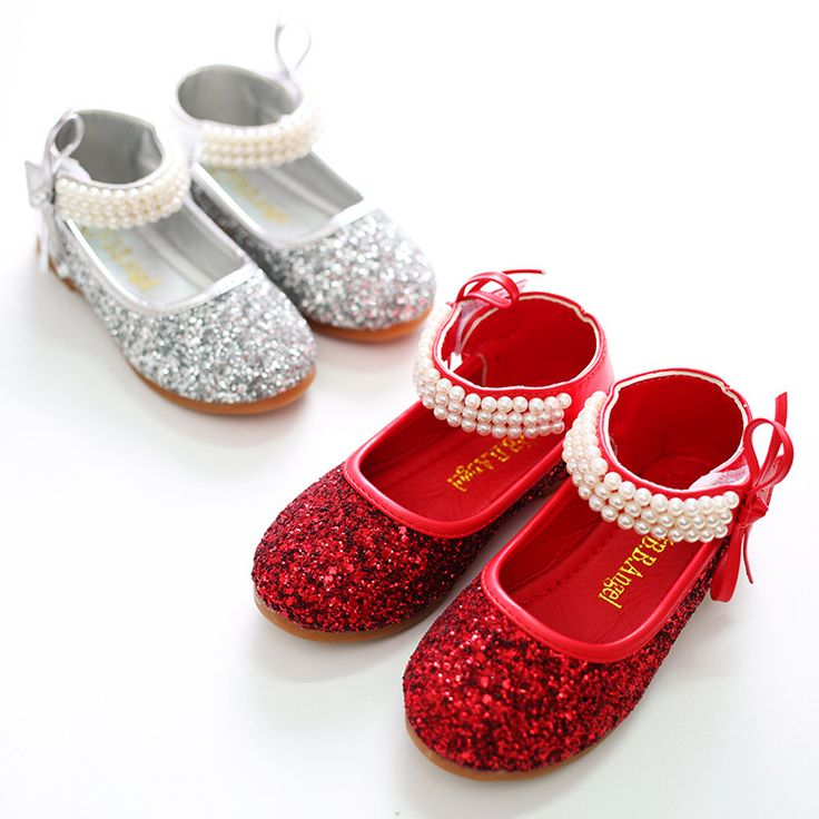 Girls dancing Shoes Spring Bowtie Sandals 2016 New Children Shoes glitter Princess pearl Sweet Sandals Beaded Shoes For Girls