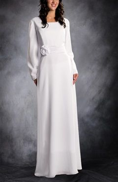 Simple A-line Wedding Dress With Flower Style Code: 09599 $175 Get this modest wedding gown here: http://www.outerinner.com/simple-a-line-wedding-dress-with-flower-pd-09599-13.html #modestweddinggowns #wedding #outerinner