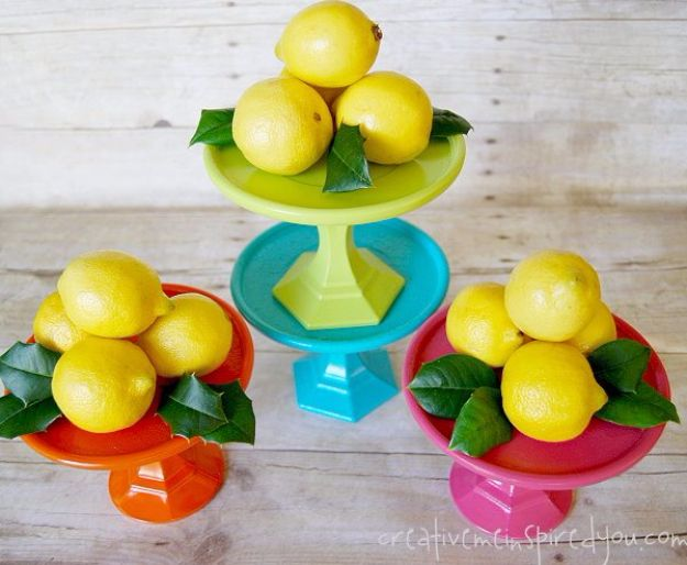 Dollar Store Crafts - Colorful and Cute Dollar Store Cake Stands - Best Cheap DIY Dollar Store Craft Ideas for Kids, Teen, Adults, Gifts and For Home - Christmas Gift Ideas, Jewelry, Easy Decorations. Crafts to Make and Sell and Organization Projects http://diyjoy.com/dollar-store-crafts